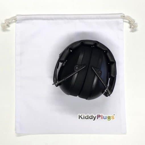 Kinder Gehörschutz schwarz Säckchen Baumwolle weiss