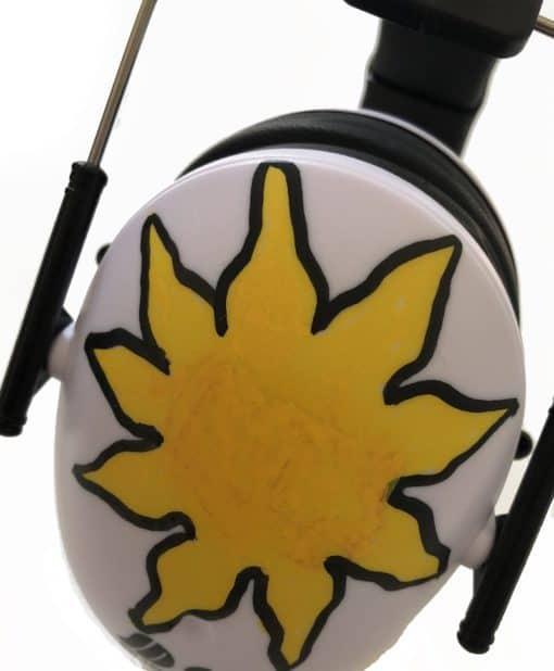 Kinder Gehörschutz weiß bemalt sonne