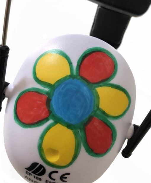 Kinder Gehörschutz weiß bemalt Blume