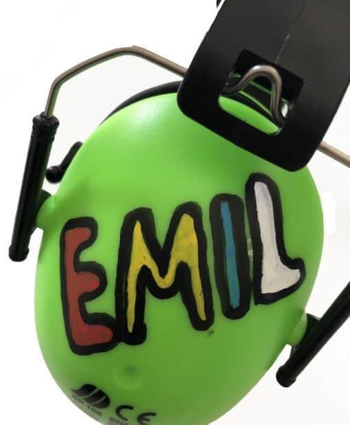Kinder Gehörschutz grün bemalt Emil