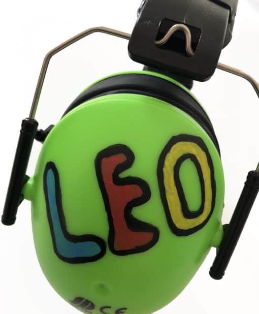 Kinder Gehörschutz grün bemalt Leo